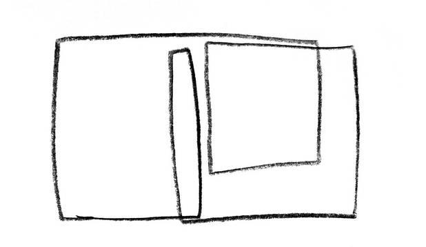 Linie und Parallelogramme, Bleistift, 30x30 cm 2009