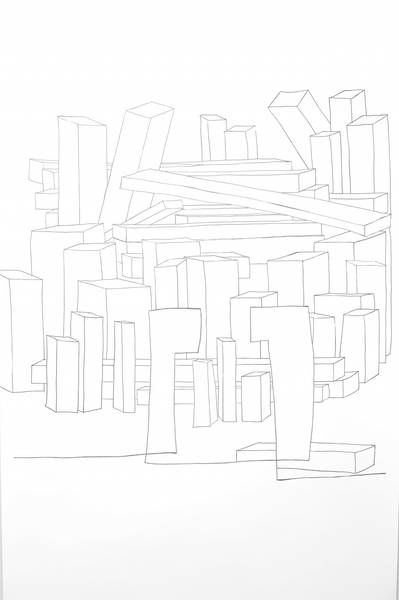 dahinter, Tinte, 98x157 cm 2014