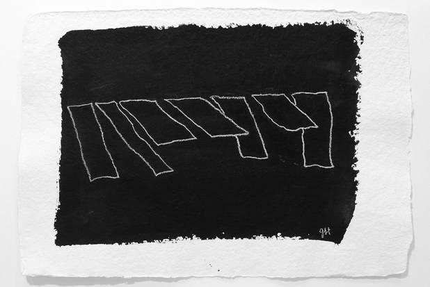 Leine, Tinte und Kreide auf Büttenpapier, 40x55 cm 2012