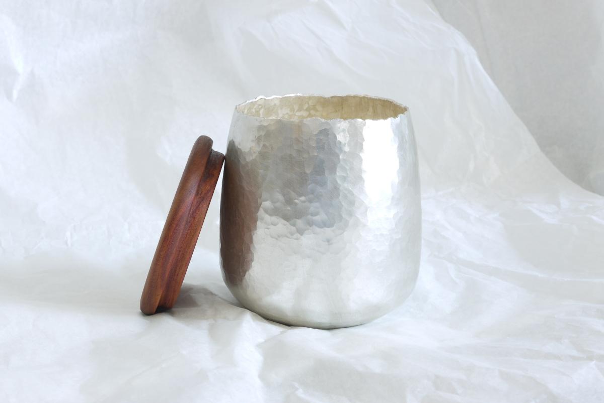 Silber 999/000 Silbernen Gefäß mit Pflaumenholz Deckel